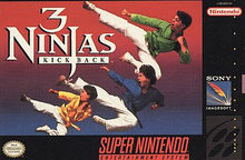 Box art for the game 3 Ninjas Kick Back