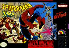 Box art for the game Spider-Man -- X-Men: Arcade's Revenge