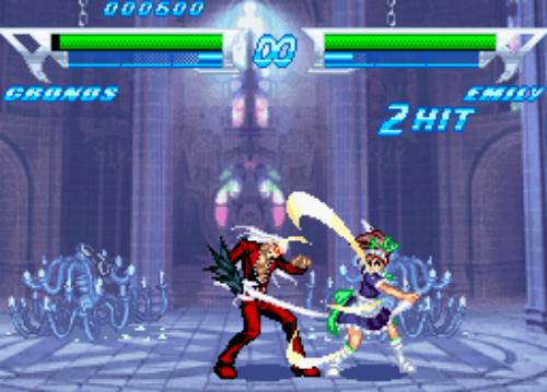 Em meio a um templo, luta entre Cronos e Emily