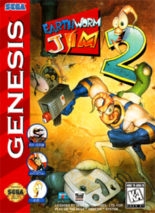 Box art for the game Earthworm Jim 2