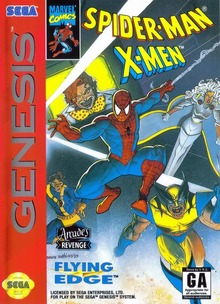 Box art for the game Spider-Man -- X-Men: Arcade's Revenge