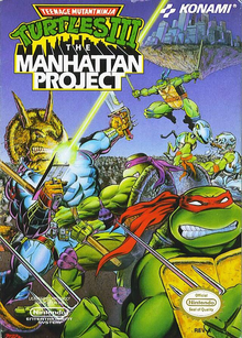 Box art for the game Teenage Mutant Ninja Turtles III: The Manhattan Project