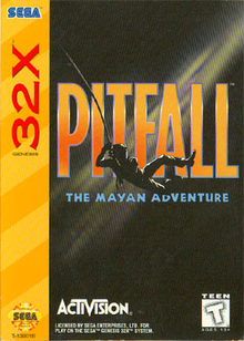 Box art for the game Pitfall: The Mayan Adventure
