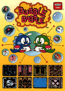 Box art for the game Bubble Bobble