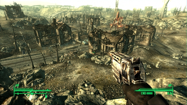 Fallout 3 Notice The Slight Reflection Of Sun But Mostly Its Drab Dark Everything Is Destroyed And In Shambles There Are Little To No Trees Or