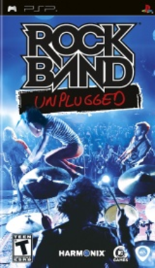 Box art for the game Rock Band Unplugged