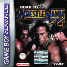 Box art for the game WWE Road to WrestleMania X8